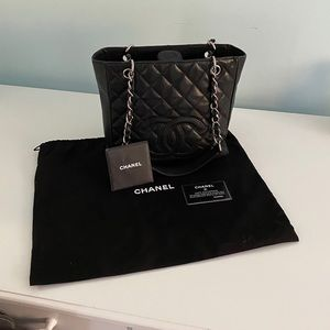 CHANEL black caviar quilted petite leather